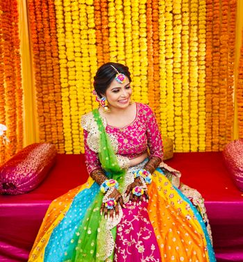 Multicolored lehenga for Mehndi