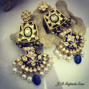 Photo of meenakari earrings with kundan and blue lapis work