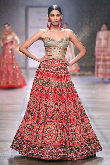 Photo of Tribal Design Red and Grey Lehenga for Mehendi
