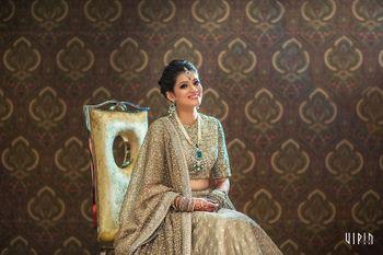 Photo of Bride in Monotone Grey Shimmery Lehenga