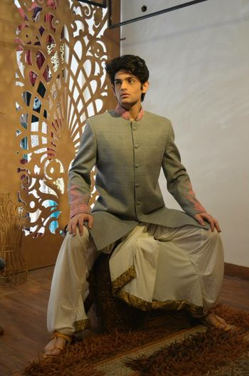 Photo of Bandhgala grey jacket with dhoti