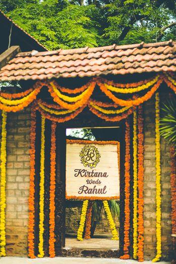 Genda Phool Wedding Decor with Monogram Motif