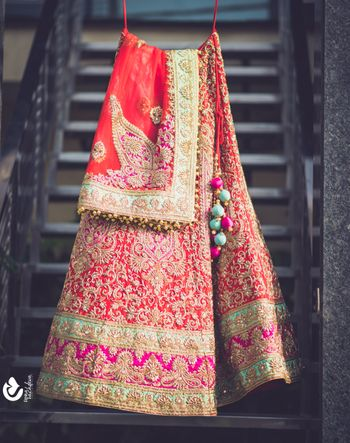 Red and Pink Bridal Lehenga with Aqua Border
