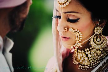 Sikh Bride in Bold Polki Jewellery with Big Nath