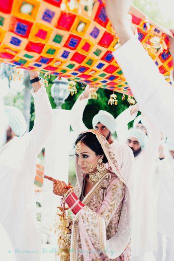 Bride walking in her bridal entry