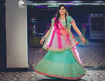 Turquoise Lehenga with Bright Pink Lehenga and Sequins