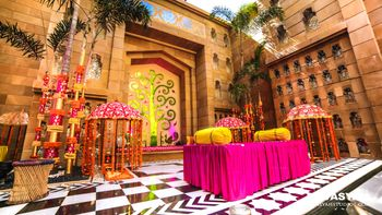 Bright Pink and Yellow Palace Wedding Decor for Mehendi