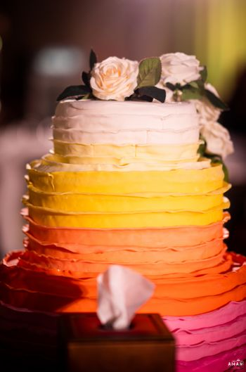 ombre cake with peach and orange shades