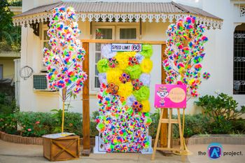 Photo of Colourful Pinwheel Prop Wall and Photobooth