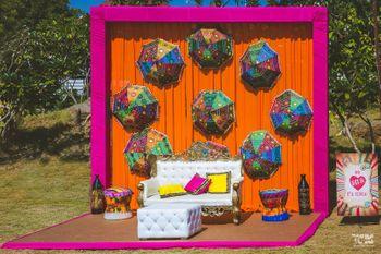 Mehendi Photo Booth idea with hanging umbrellas