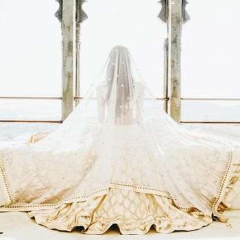 white bridal lhenga with veil
