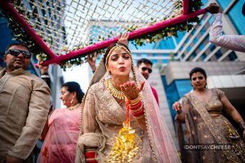 happy bride shot while entering her wedding