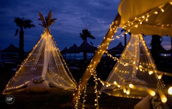 unique teepee tent decor with fairy lights
