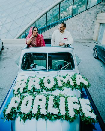 vintage car decor with wedding hashtag for exit or entry
