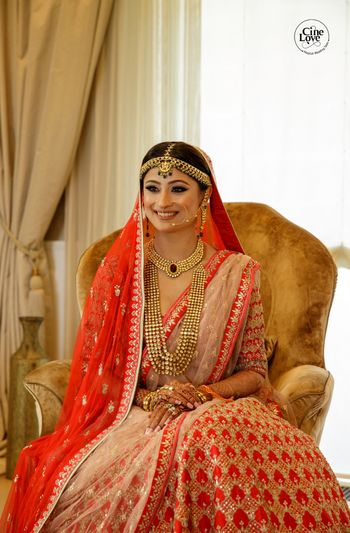 light pink and red summery lehenga with double dupatta
