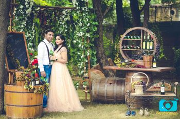 Couple in Vineyard Themed Pre Wedding Shoot
