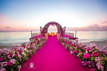 Floral pathway decor at wedding