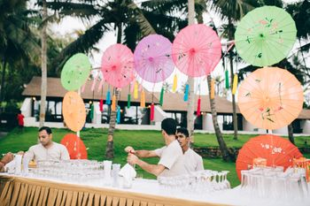 Bar area decorated with parasols and tassels