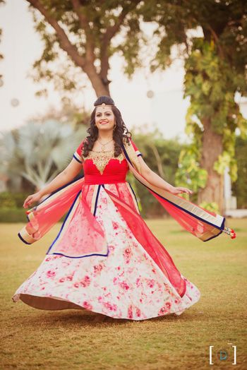 Red and White Floral Lehenga with Blue Border