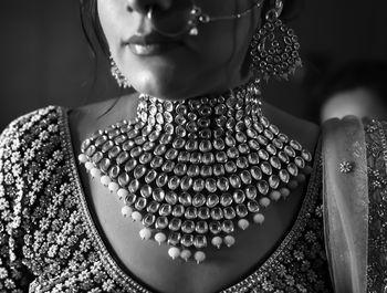 black and white bridal necklace shot