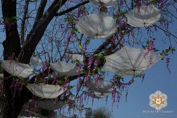 Inverted Umbrellas on Tree as Mehendi Decor