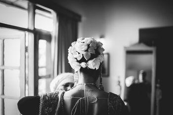 unique bridal bun with white flowers