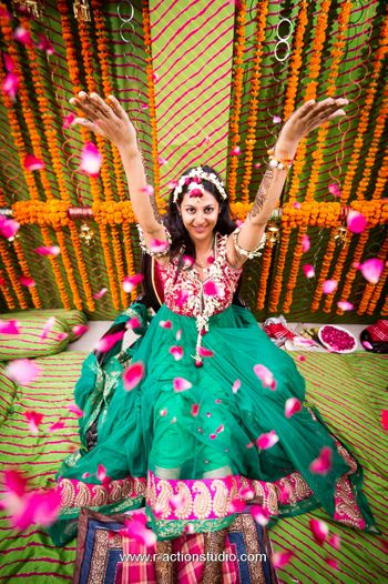 Fun Bridal Mehendi Portrait with Rose Petals