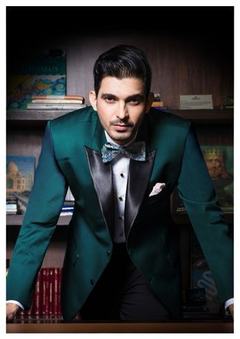 Photo of emerald green suit