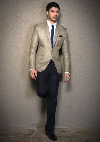 steel grey silver suit with slim tie with white shirt and navy pants