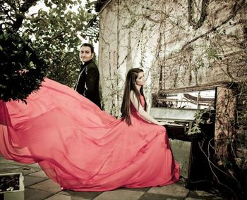 Romantic Pre Wedding Shoot with Piano and Flowing Gown