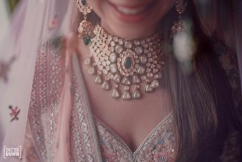 Photo of heavy polki bridal necklace shot