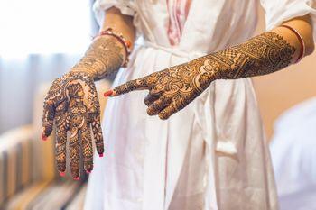 bridal mehendi photography idea with groom portrait