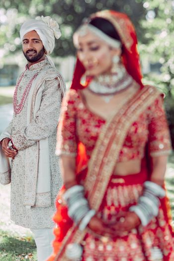 nice groom portrait idea in silver grey sherwani