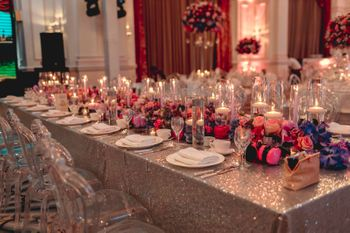 long table elegant setting for reception or sangeet