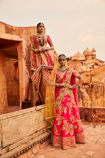 Photo of Bright Pink and Red Bridal Lehengas