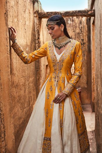 Photo of White Skirt with Mustard Yellow Jacket for Mehendi