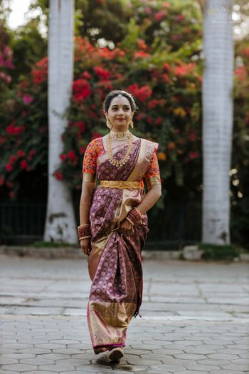 unique south indian bridal look in maroon saree