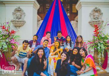 Fun Group Haldi Photo with Bride