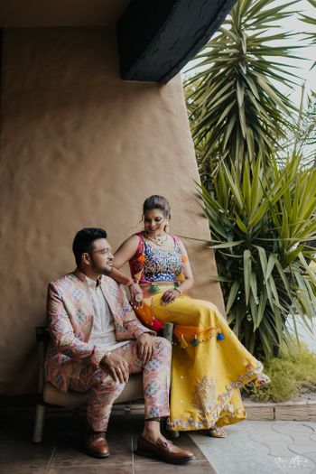 Modern mehendi outfit ideas for a couple
