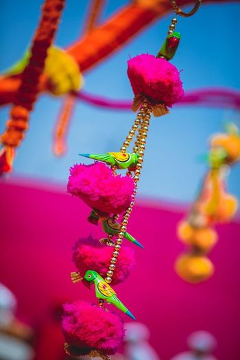 Tiny Birds Perched on Flowers Suspended Decor