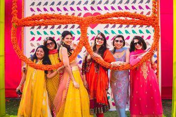 Fun Bridesmaids Photo against Sunglasses Photobooth