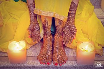 Bridal Mehendi on Hands and Feet with Candles