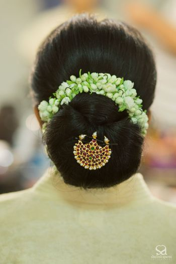 South Indian Bridal Bun with Gajra and Hair Ornament