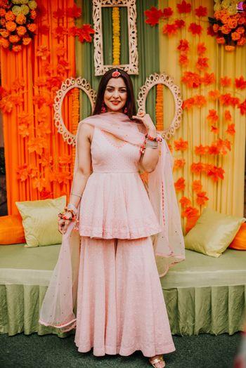 sharara with peplum kurta for mehendi in light pink