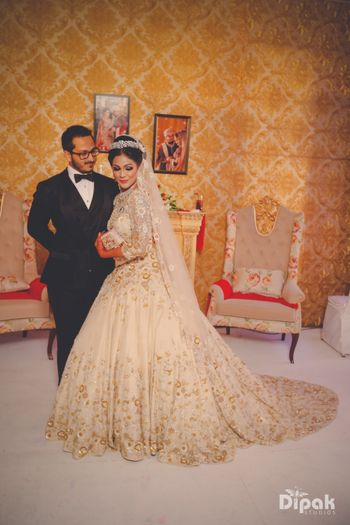 Photo of Gold Bridal Gown with Tiara