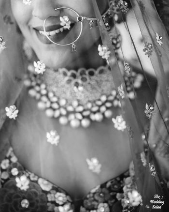 Photo of black and white bridal close up shot