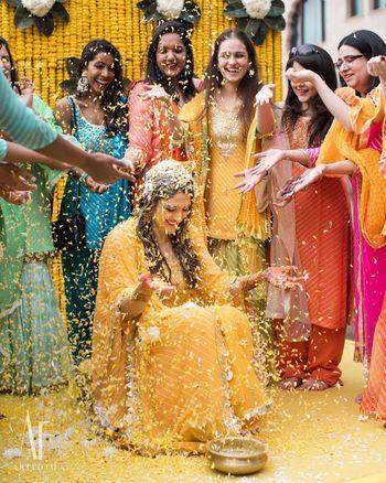 Fun bridal shot on haldi