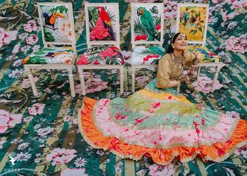 Photo of Bridal portrait with colourful decor