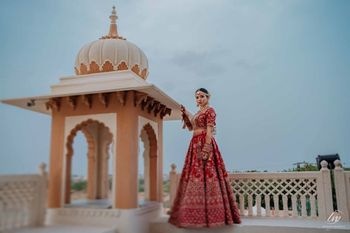 Photo of classic red bridal lehenga