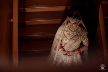 Photo of A shimmery gold bridal lehenga
